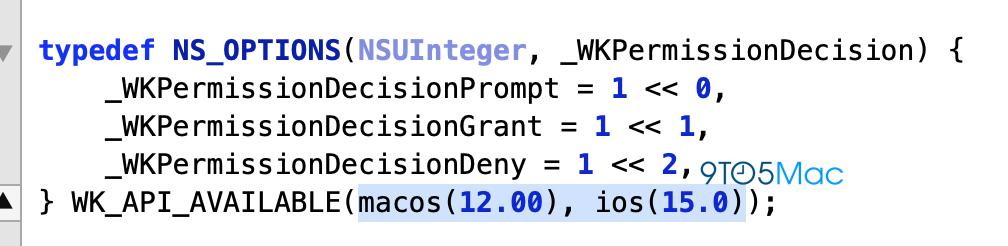 苹果开源代码中出现 IOS 15 及MacOS 12 消息