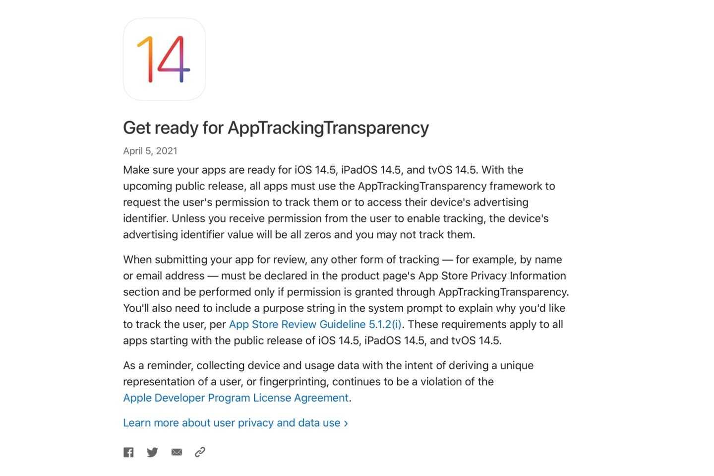 苹果开发人员为应用跟踪透明度做准备